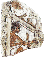 An ancient stone image of an Egyptian carpenter