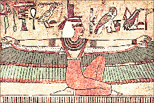 An image of Isis and some hieroglyphs