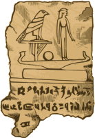 An Egyptian tablet with some writing and pictures